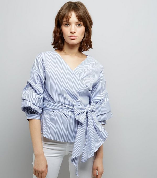 blue-stripe-ruched-sleeve-wrap-front-top